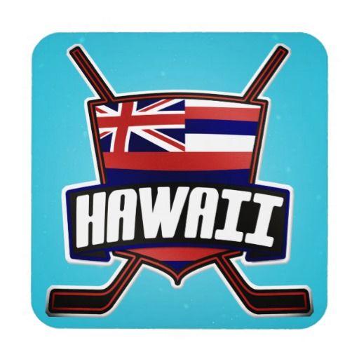 Hawaii Ice Hockey Flag Logo Beverage Coasters
