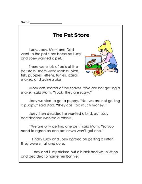 The Pet Store - Reading Comprehension | Reading comprehension ...