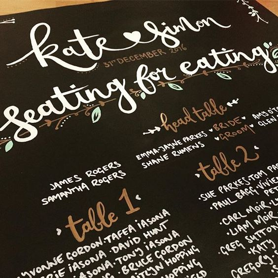 well this little (huge actually) wedding chalkboard🖌 is allllll done ready to fly to New Zealand ✈️with lots of pretty gold name settings. kate 💓 simon 🤓 • #lettering #wedding #handlettering #weddingplanning #chalkboard #kiwiwedding @parkesk #gold #metallic 🙌💕👰🏼#newzealand #tableplan #seatingforeating #bride #groom #events