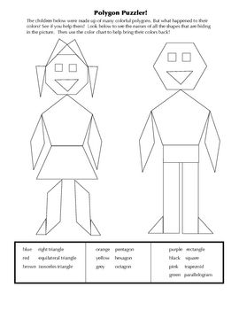 Worksheets Identifying Polygons Worksheet polygon puzzler identifying polygons comment activities and colors this activity will help children identify assigning a color to each reinforce