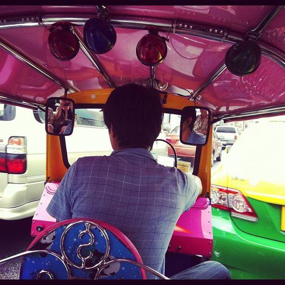 Bright colours in a tuk-tuk. #Bangkok #Thailand