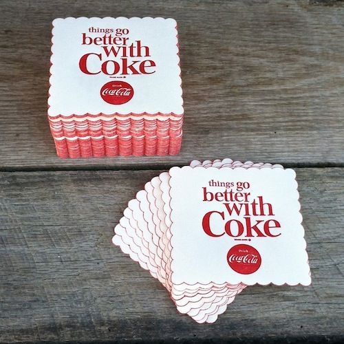"BULK WHOLESALE DEALER DEAL for One-Hundred (100) Original vintage 1963 COCA-COLA SODA PAPER SCALLOPED EDGE Coasters. Measures in inches 4"" square. Embossed ""Things Go Better With Coke"". This is new old stock never used or circulated in excellent condition. 
