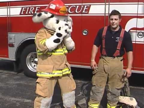 sparky the fire dog robot. fire fighter gear with sparky the dog robot