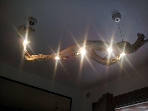 lampadario in legno, fatto con la radice di un albero   fatto in casa   Pinterest -> Lampadario Fai Da Te In Legno