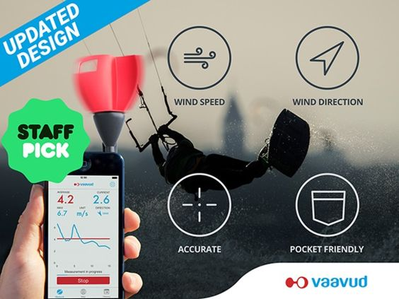 Vaavud wind meter V 2.0 / The world's first handheld device to measure both wind speed and direction.  http://thegadgetflow.com/portfolio/vaavud-wind-meter-v-2-0/