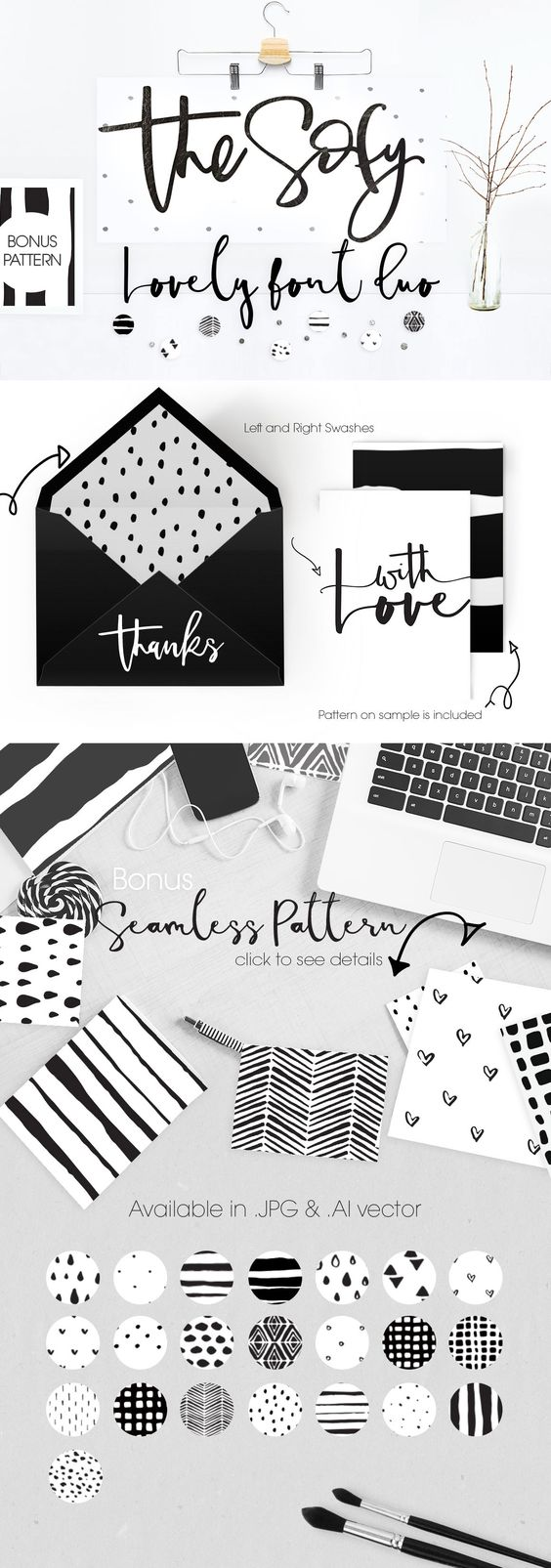 The Sofy Font Duo +Pattern+Freebie by mycandythemes on @creativemarket                                                                                                                                                     More