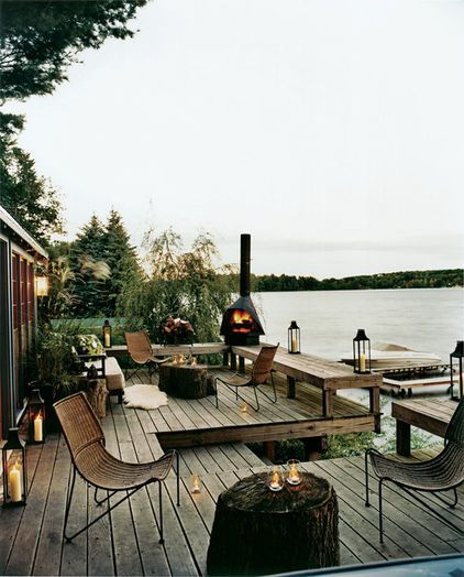 great deck - love the benches wrapping around and the stairs leading down to the water