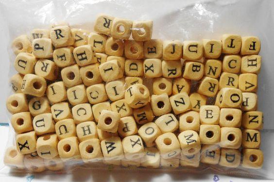 Bag Full of Wooden Alphabet Letter by CompletelyPersonal on Etsy, $1.99