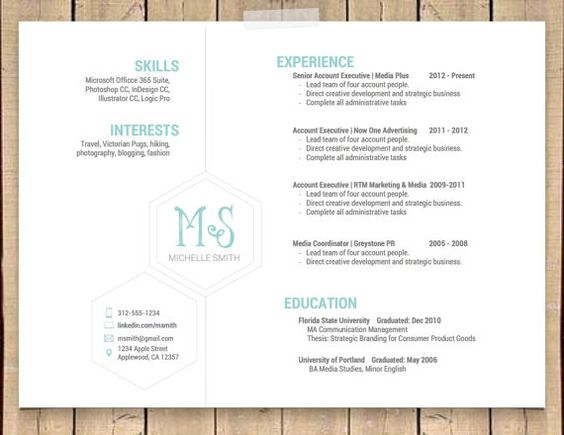 this unique hexagonal resume template is professional simple and