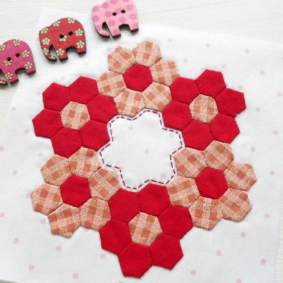 """The Splendid Sampler block no. 36 - Inchy Hexagon Club.  Forty-two hand-stitched 3/8"""" hexies - I have the sore fingers to prove it."""