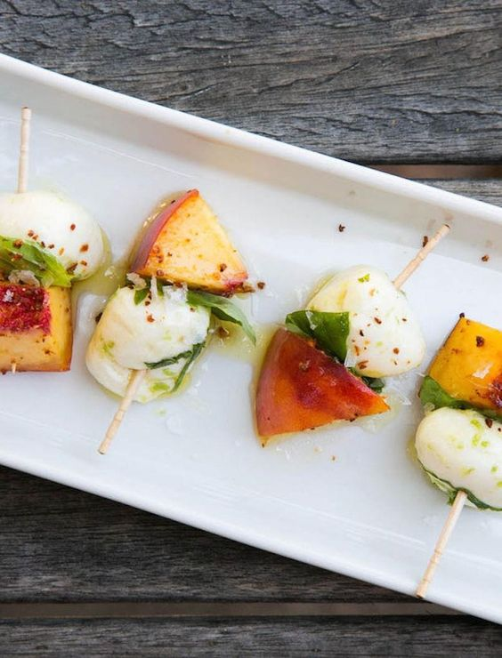 simple Peach & Mozzarella Skewer with Basil and Lime