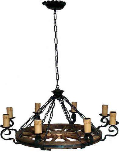 Lamparas de iluminacion rustica decoracion forja rueda carro tejas techo - Lamparas techo rusticas ...