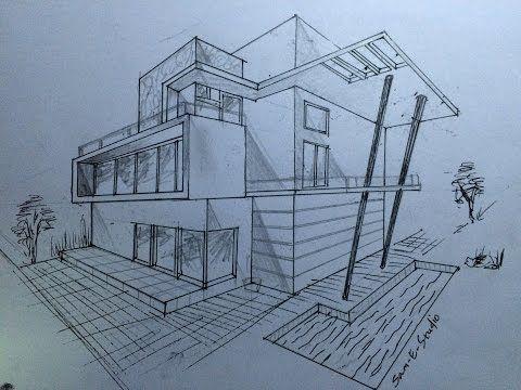 Architecture Modern House Design 2 Point Perspective View Perspective Drawing Architecture Dream House Drawing Simple House Drawing
