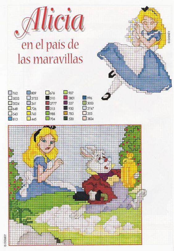 Alice in Wonderland free cross stitch pattern - free cross stitch patterns crochet knitting amigurumi