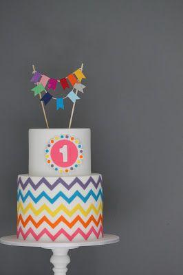 Couture Cupcakes & Cookies: Rainbow Chevron Cake