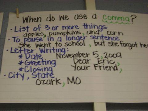 comma usage: