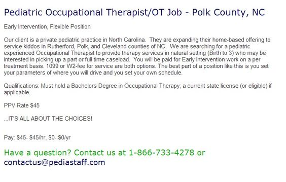 Pediatric Home Health Occupational Therapist\/OT Job - Dallas, TX - occupational therapist job description