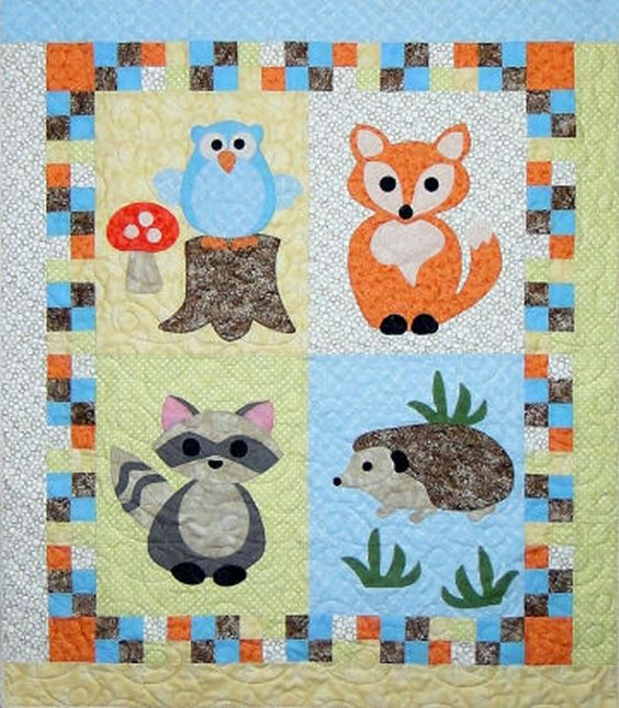 Beginner Quilt Patterns For Baby : Woodland Babies Quilt Pattern CTG-166 (advanced beginner, baby) Baby/kids quilts Pinterest ...