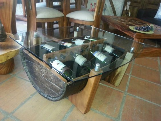 Mesa centro barril licorera y vidrio  muebles  Pinterest  Mesas