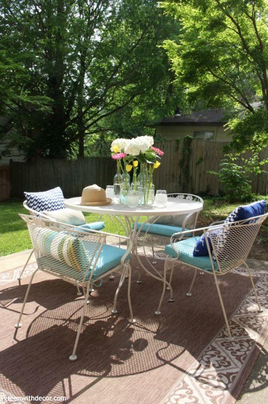 Blue And White Patio Ideas Patio Decor Patio Furniture Makeover