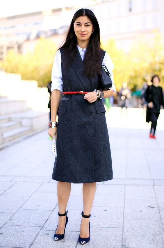 caroline issa shirt under dress street style