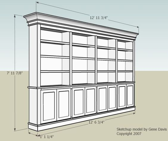 Built In Storage Cabinet Plans: Built-In Bookshelf. Nice Dimensions And Doors. How To