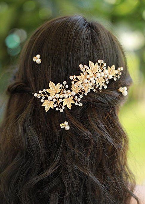 5//pics Woman Crystal Gold Hairpins Wedding Hair Accessories Hair grips