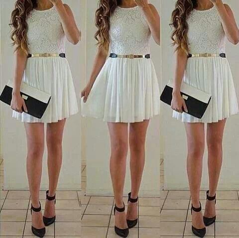 SEXY white dress with gold belt  Dressy Outfits  Pinterest ...
