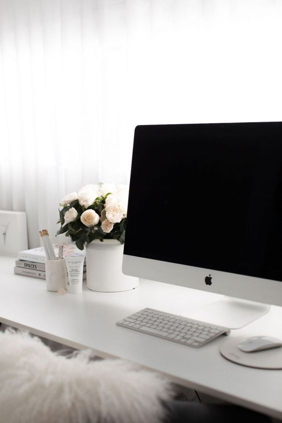 How to streamline and style your home office to boost productivity. White office decor, stylish workspace, black and white office, big bunch of flowers in office, blogger workspace, blogger desk, blogger office, creative workspace, glamorous workspace
