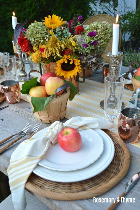 Fall Farmhouse Table, Apple Harvest Farmhouse Table, Casual Fall Tablescape, Apple Season, Sunflowers, Farmhouse Tablescape