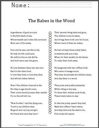 the babes in the wood free pdf poem and rhyming word flashcards literature pinterest kid. Black Bedroom Furniture Sets. Home Design Ideas