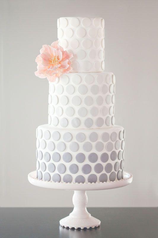 Gray ombre dot wedding cake.