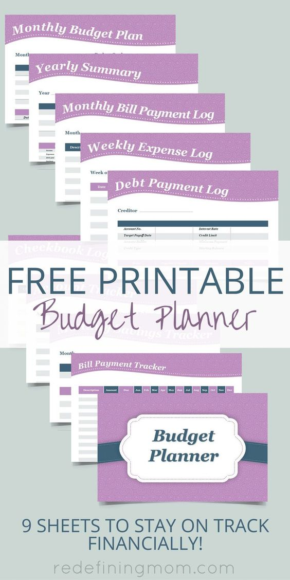 Download this FREE printable budget planner! It comes with 9 sheets to help you plan your budget, pay bills, and keep track of important financial records. The sheets include: weekly expense log, bill payment tracker, monthly bill payment log, monthly budget plan, debt payment log, yearly summary, account tracker, monthly savings tracker, and check ledger. Busy moms don't get caught up in being disorganized when it's time to pay the bills, get organized with this FREE Printable Budget…