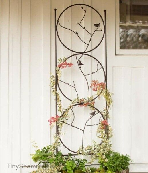 Garden Trellis Wrought Iron Large 79 Birds Branches Cottage Style