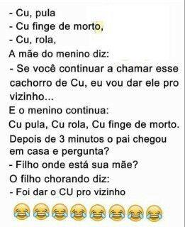 Veja as melhores piadas engraçadas, piadas curtas, boas, ruins, bebados, tumblr, bebados, joãozinho, piada do gatinho, frases, mensagens e memes brasileiros no site.