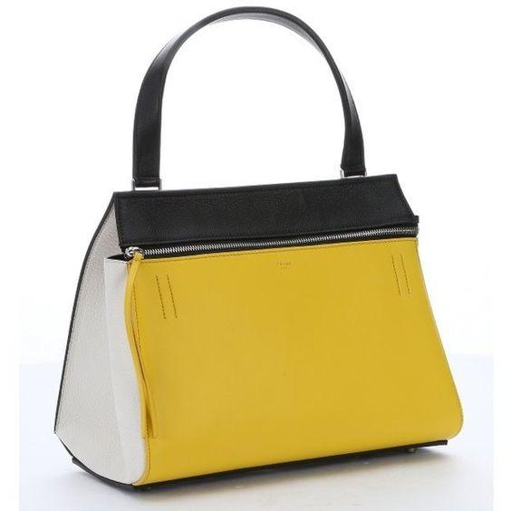celine shopper tote - Celine Yellow and black calfskin \u0026#39;Edge\u0026#39; top handle bag (��1,310 ...