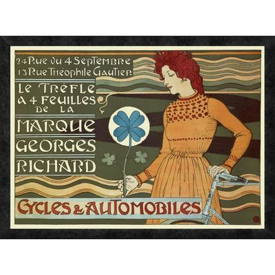 Global Gallery 'Marque Georges Richard / Cycles and Automobiles' by Eugene Grasset Framed Vintage Advertisement Size: