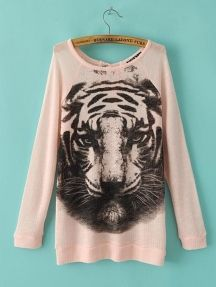 Long Sleeve Tiger Pattern T-Shirt