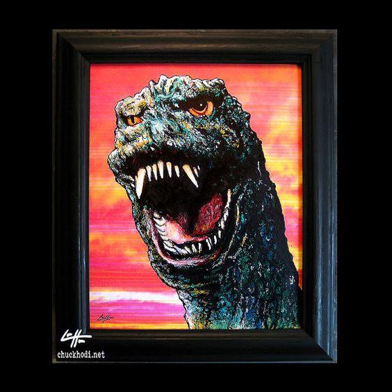 Godzilla  Original Draiwng  King of Monsters Vintage by chuckhodi