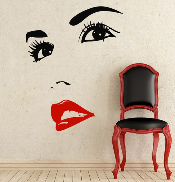 makeup wall decal vinyl sticker decals home decor design mural make up eyes girl woman lips