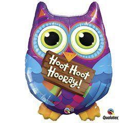 """Hoot Hoot Hooray!"" Purple Blue Owl Pink Orange Sign Large 34"" Mylar Balloon by Qualatex, http://www.amazon.com/dp/B0072ASLCU/ref=cm_sw_r_pi_dp_YY8xqb1HXPK21"