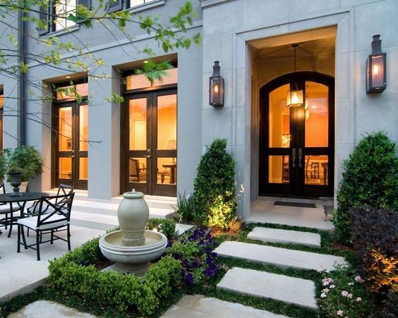 This could be a front entrance courtyard behind a big for Entry courtyard design ideas