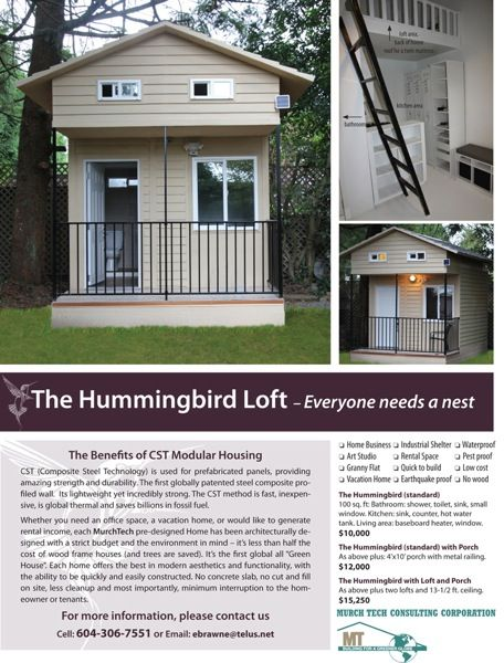 100 Sq Ft Hummingbird Tiny House With Loft Tiny House