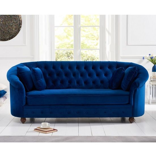 Astoria Chesterfield 3 Seater Sofa In Blue Plush Fabric Blue Sofas Living Room Blue Living Room Decor Three Seater Sofa