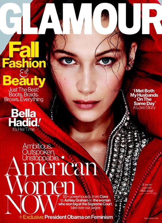 Bella Hadid pose on Glamour Magazine September 2016 Cover