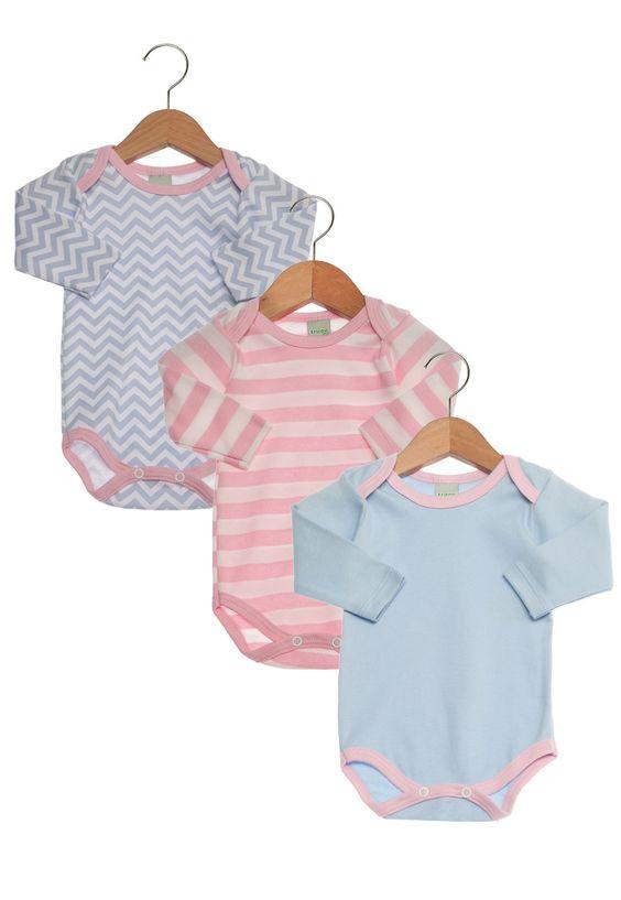 Kit Bodies Tricae Estampas Infantil Rosa/Branco/Azul