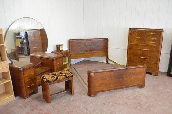 1930 39 s home decor art deco 1930 39 s waterfall bedroom set vanity home decor bedroom. Black Bedroom Furniture Sets. Home Design Ideas