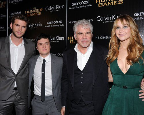 Liam Hemsworth, Jennifer Lawrence, Josh Hutcherson, and Gary Ross at the New York premiere of The Hunger Games today.