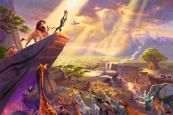 Thomas Kinkade Disney Dreams Collection VII The Lion King: Kinkade Lion, Disney Dream, Disney Paintings, Kinkade Art, Wall Calendar, Lion King, Things Disney, Thomas Kinkade Disney, Disney Movie