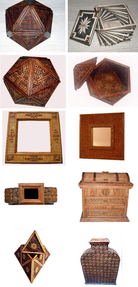 Objetos decorativos hechos con papel de periódico reciclado